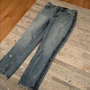 A&F zip side jeans